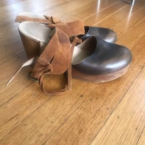 Mary Jane wood + leather clogs